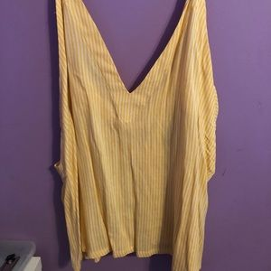 Yellow striped with white tank top